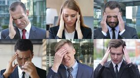 Collage of Business People Having Headache stock video footage