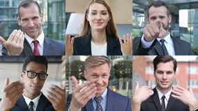 Collage of Business People Inviting by Hand gesture stock video