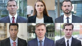 Collage of Business People Looking At the Camera stock footage