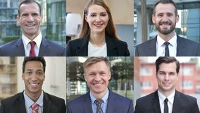 Collage of Business People Looking At the Camera And Smiling stock video