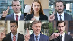 Collage of business people saying no with finger gesture stock video footage