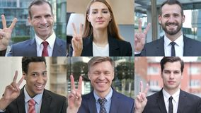Collage of business people showing victory sign stock footage