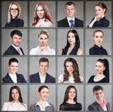 Collage of business people in square. stock photo