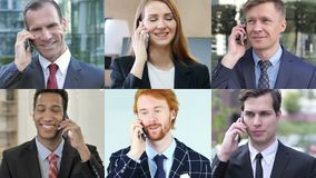 Collage of business people talking on phone stock footage