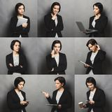 Collage of business woman emotions stock photos