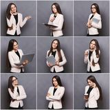 Collage of business woman emotions royalty free stock photo