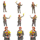 Collage.  The businessman and flower Stock Image
