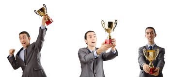 The collage of businessman receiving award Stock Photos