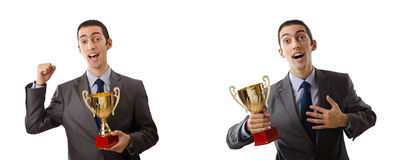 The collage of businessman receiving award Royalty Free Stock Photo