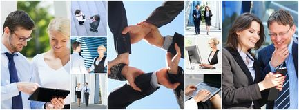 Collage of young business people royalty free stock image