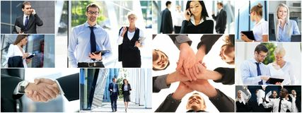 Collage of young business people royalty free stock images