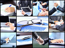 Collage with businesspeople working. Together and tools stock photos