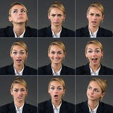 Collage Of Businesswoman With Different Expressions. Over gray background Royalty Free Stock Photography