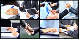 Collage businesswoman hands working with touchpad and papers in office Stock Images