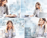 A collage of businesswomen working in the office Stock Images