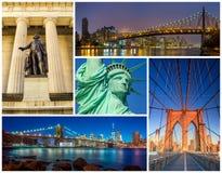 Collage célèbre de photo de points de repère de New York City Photographie stock