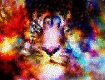 Collage cósmico multicolor de la cara del tigre, gráfico de ordenador con efecto del mosaico Foto de archivo libre de regalías