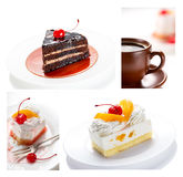 Collage of cakes and coffee cups Royalty Free Stock Image