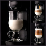 Collage cappuccino coffee Royalty Free Stock Photo