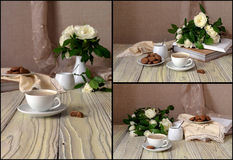 Collage of cappuccino and white roses royalty free stock images