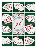 Collage card of poker hands, good luck combination. Collage of five photos of poker hands combinations plus good luck combination. Vertical format photography Royalty Free Stock Image