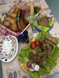 Collage: carne, pane, pollo e verdure affumicati Immagini Stock