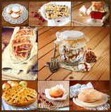 Collage casalingo di cottura con i biscotti, il pane fresco, la torta di mele ed i muffin Fotografia Stock