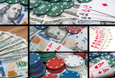 Collage of casino and gambling items Royalty Free Stock Photo