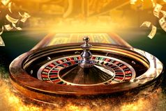 Collage of casino images with a close-up vibrant image of multicolored casino roulette table with poker chips stock photography