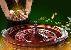 Collage of casino images with a close-up vibrant image of multicolored casino roulette table with poker chips in woman stock images
