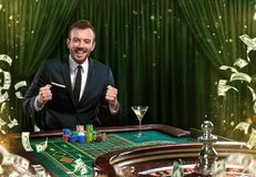 Collage of casino images with man play poker roulette at the table. Young man in suit playing in the casino. Gambling. royalty free stock image