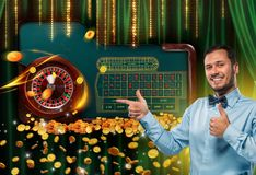 Collage of casino images with roulette table and smiling man showing thumbs up royalty free stock images