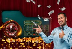 Collage of casino images with roulette table and smiling man showing thumbs up royalty free stock photography