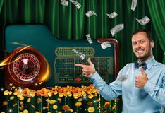 Collage of casino images with roulette table and smiling man showing thumbs up stock photos