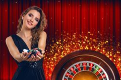 Collage of casino images with roulette and woman with chips in hands royalty free stock photo