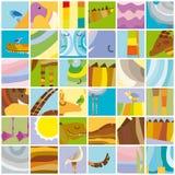 Collage casuale di colore degli animali africani illustrazione vettoriale