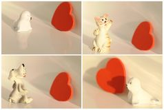 Collage cat, dog, seal with heart Stock Image