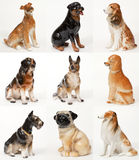 Collage of ceramic statues of dogs Royalty Free Stock Photography