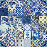 Collage of ceramic tiles from Portugal Stock Photos