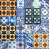 Collage of ceramic tiles from Portugal Royalty Free Stock Photo