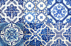 Collage of ceramic tiles from Portugal Stock Images