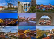 Collage of Cesky Krumlov in Czech republic images my photos. Travel and architecture background Stock Image