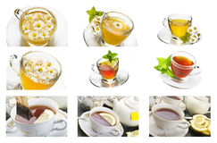 Collage of chamomille and tea Royalty Free Stock Photos