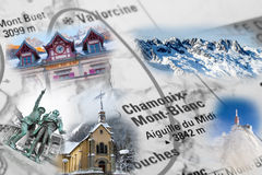 Collage with Chamonix landmark photos Royalty Free Stock Photos