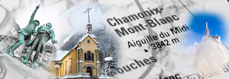 Collage with Chamonix landmark photos Stock Images