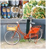 Collage Characteristic Dutch Retro Bike & Souvenirs,Amsterdam,Netherlands Stock Images