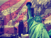 Collage che contiene parecchi punti di riferimento di New York fotografia stock