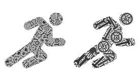 Collage che esegue le icone dell'uomo degli strumenti di servizio illustrazione vettoriale
