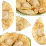 Collage with cheburek stuffed isolated on white background Stock Image