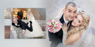 Collage - cheerful groom and the bride in their wedding day Stock Photography